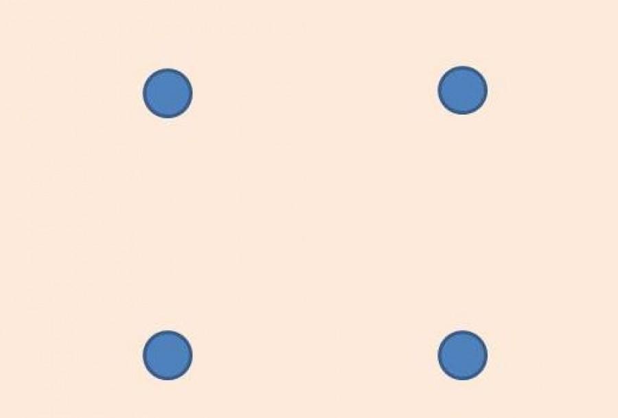 Kösd össze a négy pontot három vonallal!