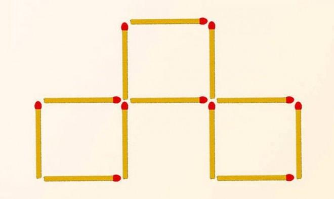 Mozdíts el 3 gyufát úgy, hogy 4 négyzetet kapj!